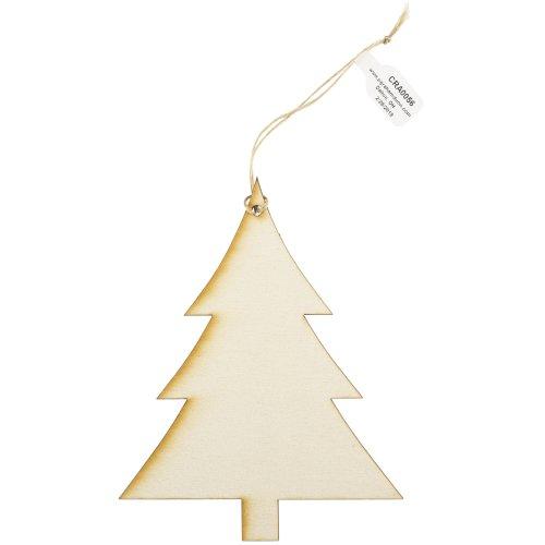 """Craft Decor Wood Ornament W/Twine 24/Pkg-Tree 3.75""""X4.75""""X.125"""""""
