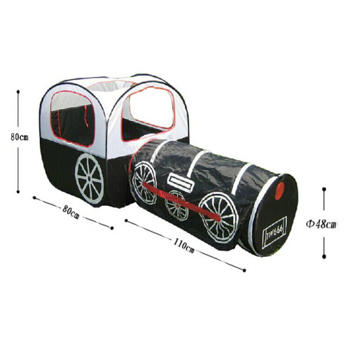 Cute Train Kids Indoor/Outdoor Play Tent with Tunnel(Under 3 Years Old, Black)