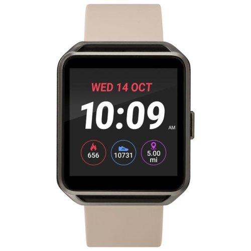 Timex TW5M31800SO Gunmetal Square Touchscreen Watch, Beige Silicone Strap