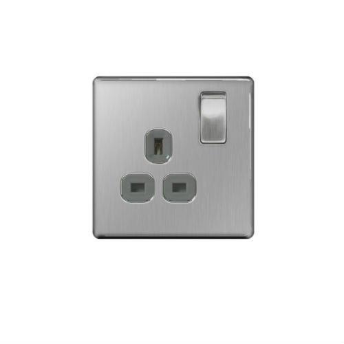 BG Flatplate Screwless 1 Gang 13A Switched Socket Chrome (Grey Inserts)