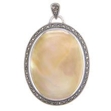 Sterling Silver Large Marcasite Yellow Shell Oval Locket On A Snake Necklace