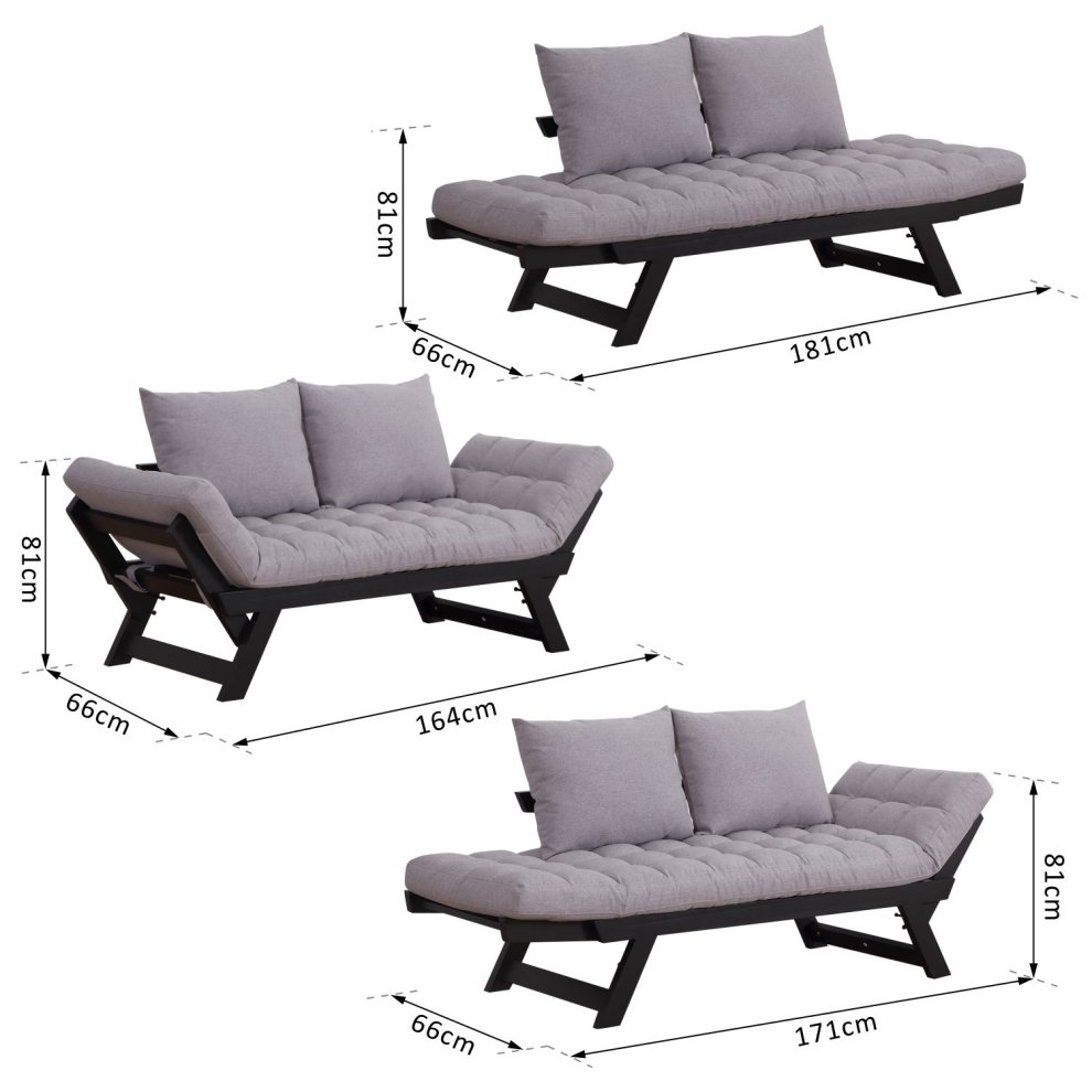Homcom Sofa Bed Chaise Lounge Linen Grey On Onbuy