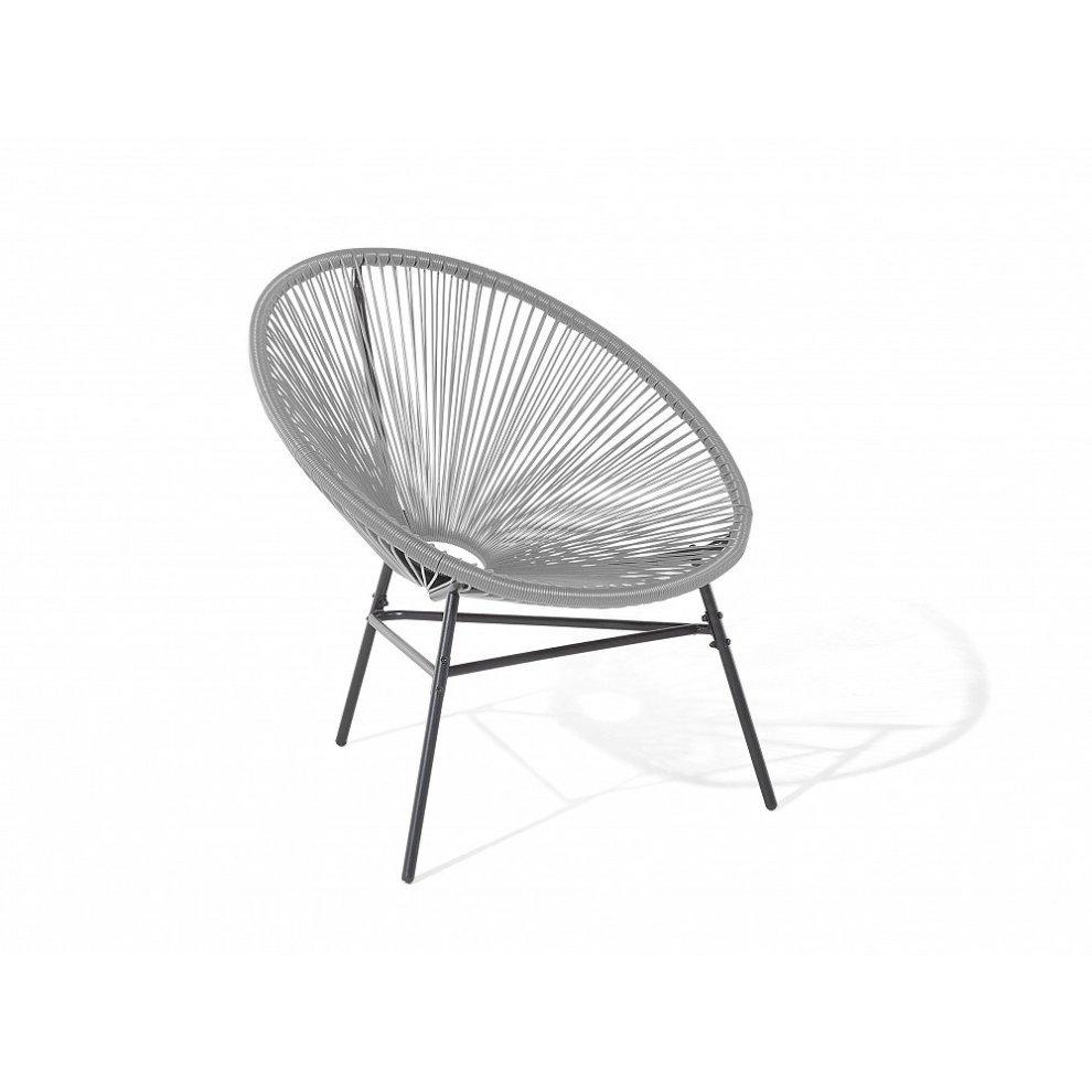 Beliani ACAPULCO Grey Outdoor Bistro Set | String Table U0026 Chair Set