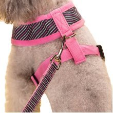 Vest Leashes - Dog Harness Leash--?L Size: Bust 46cm?Pink Bars