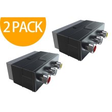 Act Scart Adaptor with 3 Phono Sockets Audio Video In Black (2 Pack)