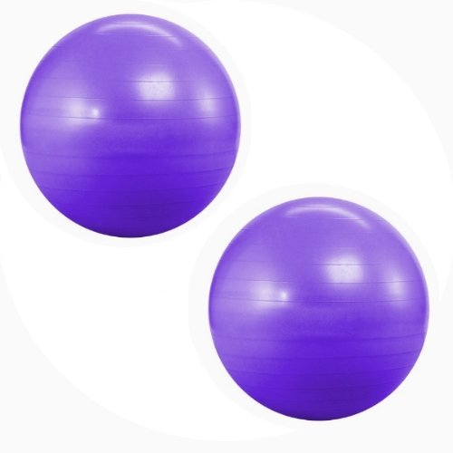 Kabalo Purple 65cm Anti Burst Gym Exercise Swiss Yoga Fitness Ball for Pregnancy Birthing, etc (including pump) Double Pack
