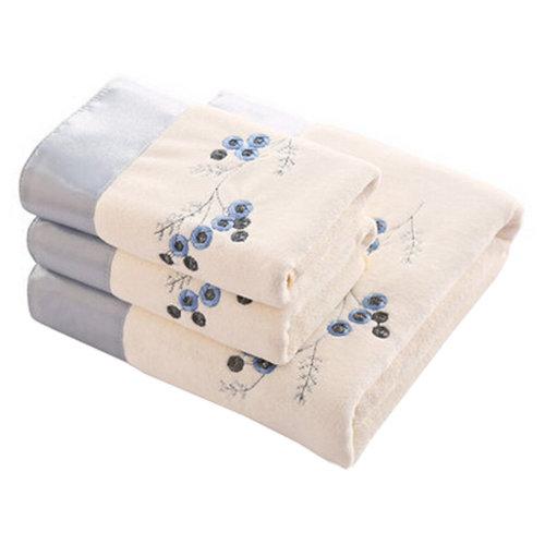 3 Piece Embroidery Luxury Hotel & Spa Bath Towel Bath Towel Sets,White