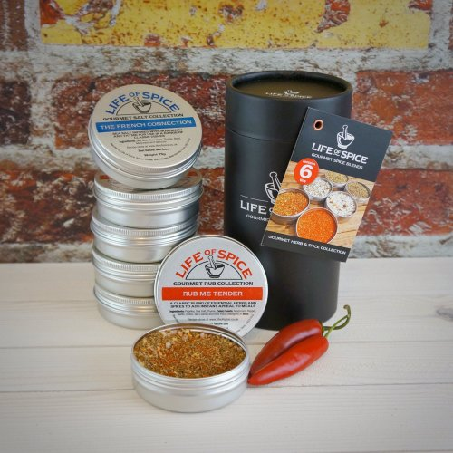 Life of Spice Gourmet Herb & Spice Collection - Set of 6 Life of Spice Salts, BBQ Rubs and Herb blends