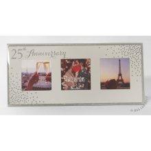 25th Anniversary Celebrations Sparkle Triple Photo Frame WG83525