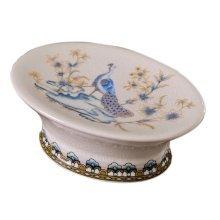 European Style Retro Ceramic Soap Box Oval Soap Holder for Bathroom, Peacock
