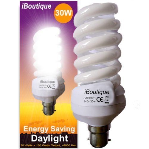iBoutique 30W Bayonet (B22) Energy Saving Daylight SAD Light Bulb