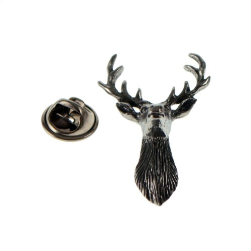 Stags Head (Front View) English Pewter Lapel Pin Badge