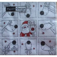 4 x Christmas Paper Napkins - Curious Reindeer - Ideal for Decoupage