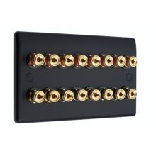 Matt Black Slimline 8.0 Speaker Wall Plate - 16 Terminals - No Soldering Required