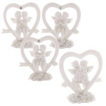 White Cherub Heart Angel Roses Glitter Wings Cupid