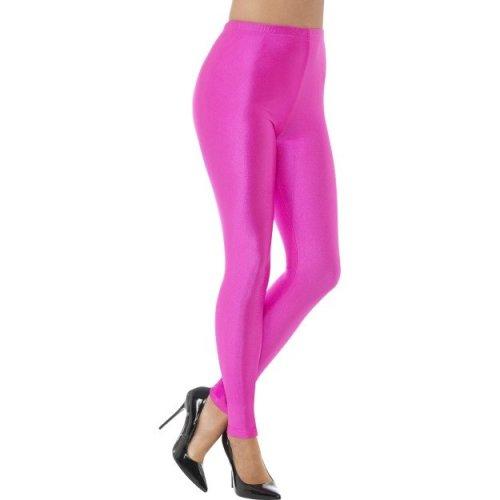 80s Disco Spandex Leggings, Neon Pink -  neon 80s disco spandex leggings womens ladies fancy dress costume pink uk 818 adults groovy