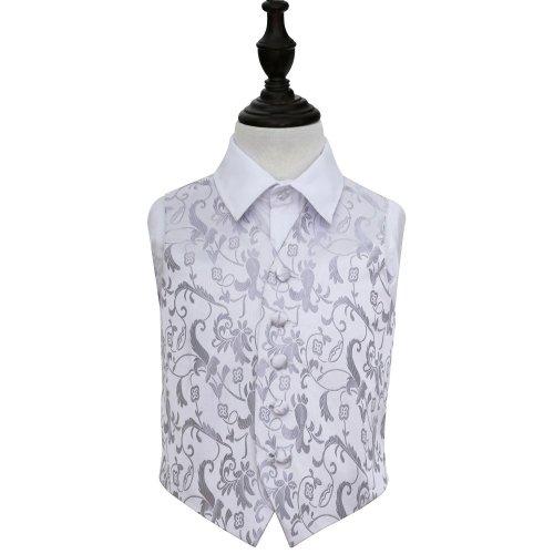 Silver Floral Wedding Waistcoat for Boys 28'