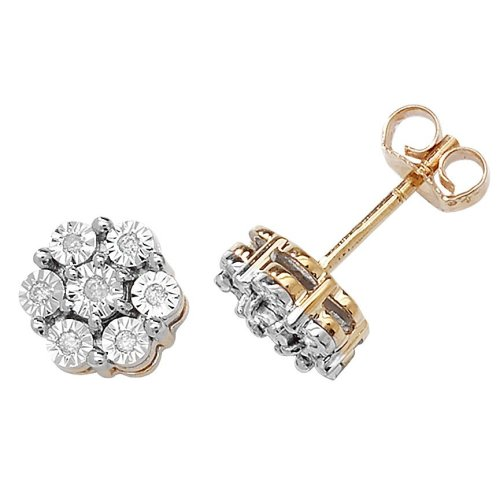ca5d71c21 9ct Yellow Gold 0.08ct Diamond Illusion Set Flower Stud Earrings on OnBuy