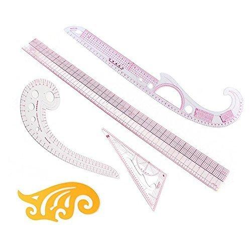 Itian 5 Pcs Different DIY Clothes Measuring Ruler Plastic Design Ruler Set Sewing Tools