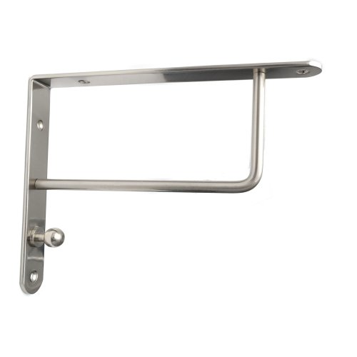 Pair High Quality Brushed Chrome Fixed Shelf Brackets Supports With Fixings 026