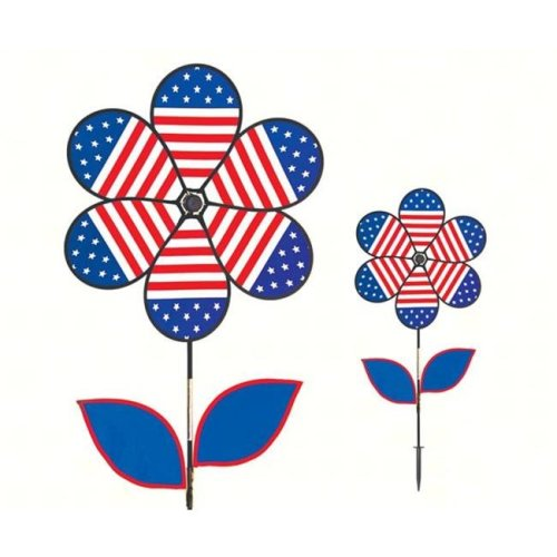 In The Breeze ITB2778 Patriotic Flower with Leaves 19 in. Spinner