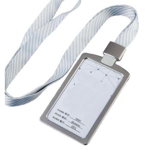 Aluminum Alloy Vertical Style ID Card Badge Holder with Neck Lanyard Strap 3PCS, 37