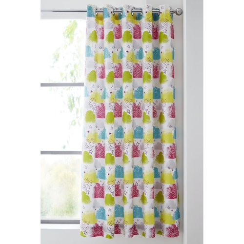 Catherine Lansfield Clouds Easy Care Eyelet Curtains Multi, 66x72 Inch