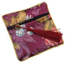 2PCS Chinese Embroidery Purse Coins Jewelry Pouch Zipper Bag Stylish Gift, Wine