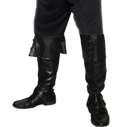 Black Pirate Bootcovers - Deluxe Fancy Dress Smiffys Mens Costume Accessory New -  pirate deluxe bootcovers fancy dress smiffys mens costume black