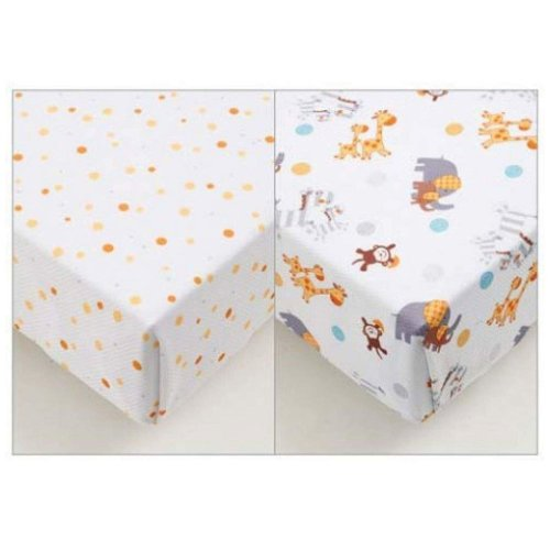 Breathable Baby Super Dry Cot Sheets 2 Pack - Animal 2 By 2