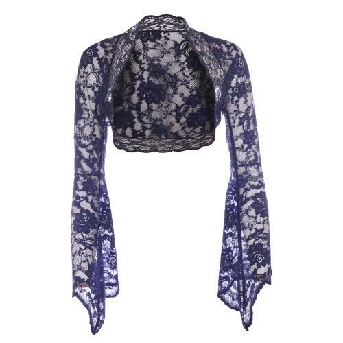 Ladies Navy Blue Lace Bell Sleeve Bolero Size 6-30
