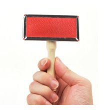 Wooden handle Stainless Steel Soft Comb Dog Brush Cat brush(Size: small)