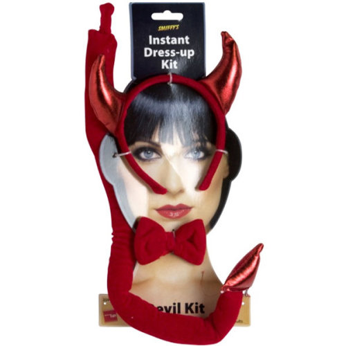 Smiffys Female Devil Set -  devil set dress fancy horns halloween costume tail kit instant ladies adult smiffys accessory bow tie