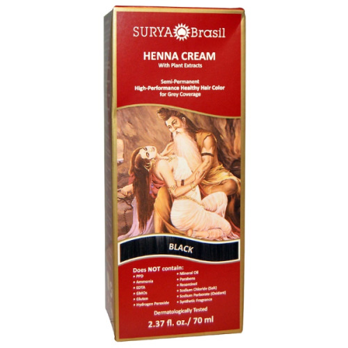 Surya Brasil, Henna Cream, Hair Color and Conditioner, Black, 70ml