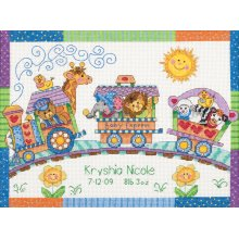 """Dimensions/Baby Hugs Counted Cross Stitch Kit 12""""X9""""-Baby Express Birth Record (14 Count)"""