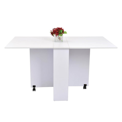 HOMCOM Mobile Drop Leaf Dining Kitchen Table Folding Desk For Small Spaces With 2 Wheels & 2 Storage Shelves White