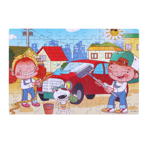 80PCS Tin Box Jigsaw Puzzle Wooden Cartoon Puzzle Kids Intelligence Toys Car