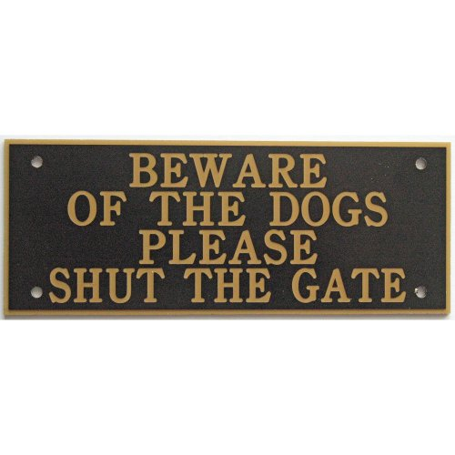 """Expressions Engravers ACRYLIC BEWARE OF THE DOGS PLEASE SHUT THE GATE 5"""" X 2"""" SIGN IN BLACK"""