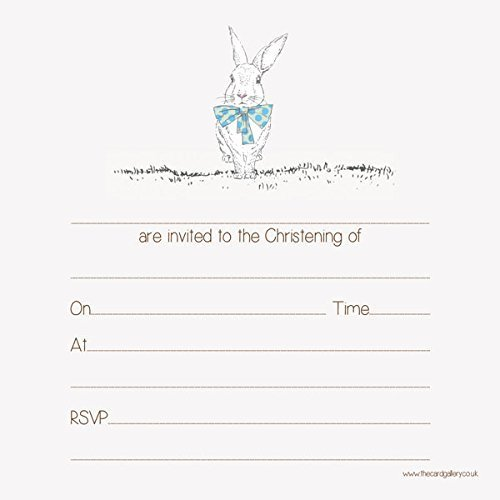 Christening Invitations - Boys Rabbit & Bow Tie - Pack of 10
