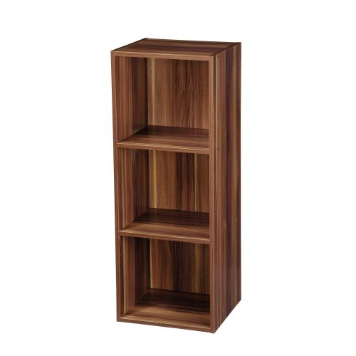 Teak Bookcase Shelving Display Storage Wood Shelf Shelves Unit 3 Tier