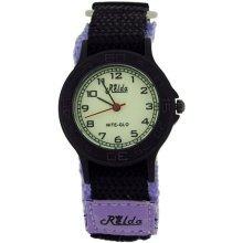 Relda Nite-Glo Quartz Luminous Dial Purple & Black Velcro Girls Watch REL58