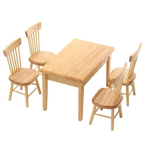 1 Set Miniature Dining Table Chair Wooden Furniture Set for 1:12 Dollhouse by TOYZHIJIA