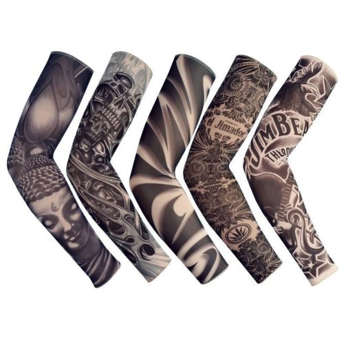 Temporary Fake Slip On Tattoo Arm Sleeve Cycling Basketball Sun Block Sleevelet for Men and Women (Unisex Dark Set, Pack of 5)