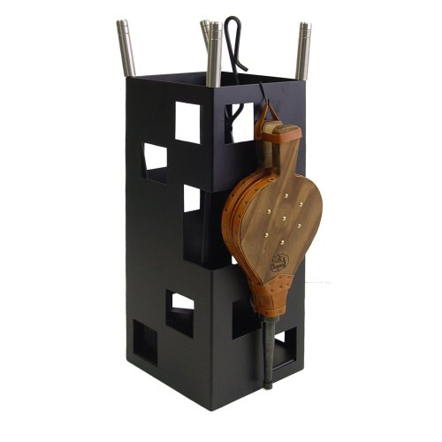 Imex El Zorro 10045 - Fireplace Set, Square (Stainless Steel with Bellows, 50 x 20 x 20 cm) with Tools, Black