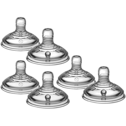 Pack of 6 (3x2) Tommee Tippee Closer to Nature Baby Bottle Medium Flow Teats 3 Months plus