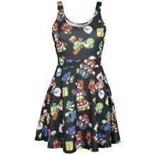 NINTENDO Super Mario Bros Female Characters and Icons Sleeveless Dress XL - Black