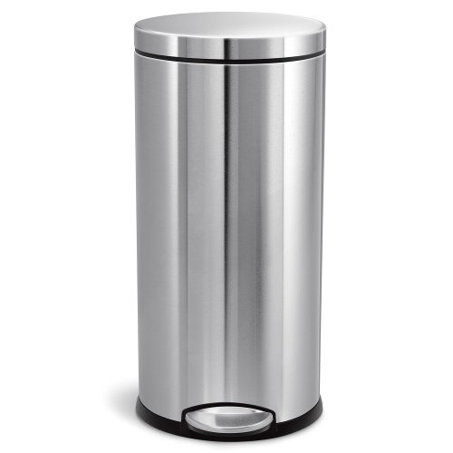 simplehuman Round Pedal Bin, 30 L - Fingerprint-Proof Brushed Stainless Steel