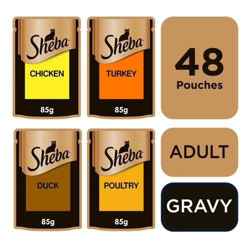 Sheba Select Slices Cat Pouches Poultry Collection In Gravy 12x85g (Pack of 4)