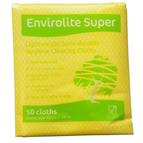 "EcoTech""Envirolite"" Super Folded Cleaning Cloth, Yellow, Medium, Pack of 50"
