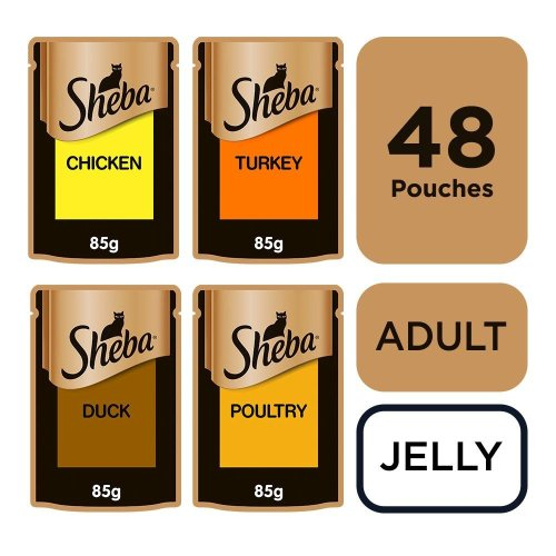 SHEBA Fine Flakes Cat Pouches Poultry Collection in Jelly 12x85g (Pack of 4)